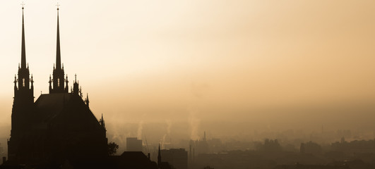 View of old city in fog at ...