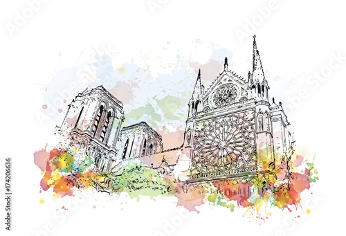 Photo  Watercolor sketch of Notre-Dame de Paris France in vector illustration