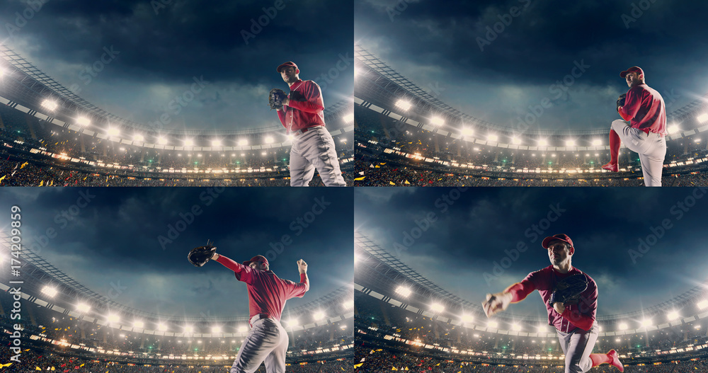 Fototapety, obrazy: Baseball male player in action