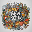 Cartoon cute doodles hand drawn I Love New York inscription