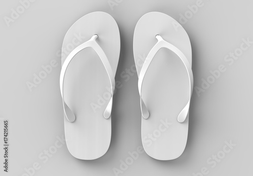 Pair of blank white beach slippers, design mock up, clipping path, 3d illustration. Home plain flip flops mock up template. Clear bath sandal display. Bed shoes.