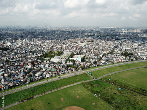 Plakat Śródmieście Tokio na niebie