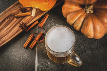 Frothy Spicy Pumpkin Ale Or Beer In Glass Mug, On Black Background, Copy Space