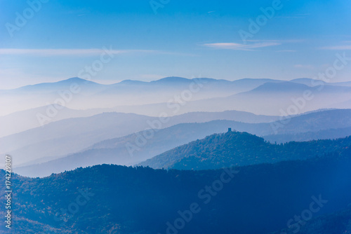 Photo Stands Hill Landscape of beautiful black forest, Germany. Silhouette of hills close to Alsace, France.