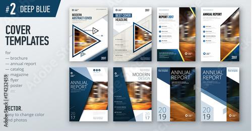 Fotografía  Set of business cover design template in dark blue color for brochure, report, catalog, magazine or booklet