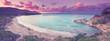 Panorama Strandbucht im Sonnenuntergang