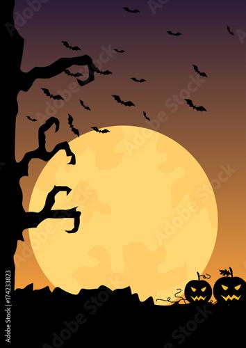 Keuken foto achterwand Diepbruine Halloween evening moon spooky poster