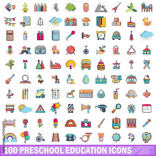 100 preschool education icons set, cartoon style