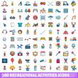 100 recreational activities icons set, cartoon style