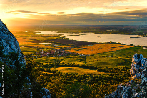 Canvas Print New Mlyny  is a cascade of three dam reservoirs on the Dyje river under the Pavl