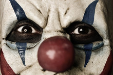 Close Up Portrait Of Scary Evil Clown