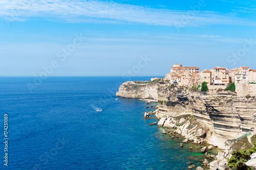 View of Bonifacio old town Corsica island France Canvas Print