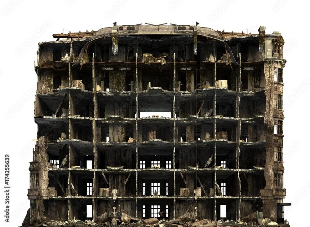 Fototapeta Ruined Building Isolated On White 3D Illustration