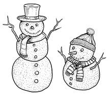 Snowman Illustration, Drawing,...