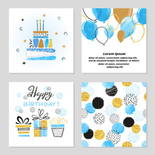 Happy Birthday Cards Set In Bl...