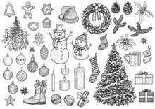 Christmas Collection, Illustration, Drawing, Engraving, Ink, Line Art, Vector