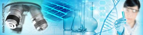 Fototapeta scientist, chemical glassware and microscope obraz
