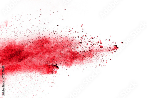 Red Color powder splash cloud isolated on white background Canvas-taulu
