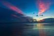 Lake at dusk and sunset beam