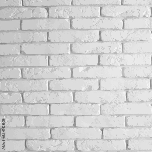 Photo sur Toile Brick wall Vector white brick wall. Brick texture
