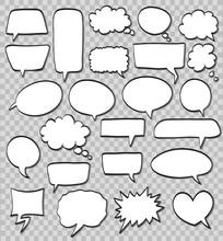 Vector Set Of Comic Speech Bubbles On Transparent Background