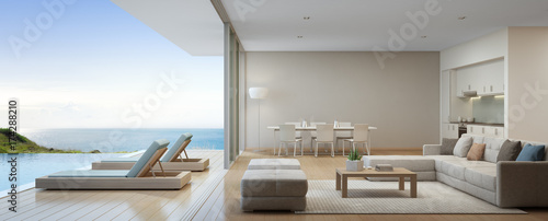 Obraz Sea view kitchen, dining and living room of luxury beach house with terrace near swimming pool in modern design. Vacation home or holiday villa for big family. Interior 3d rendering - fototapety do salonu