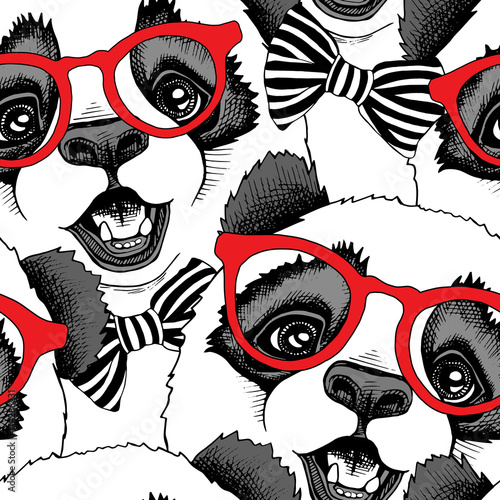 Tapety do pokoju dziewczynki  seamless-pattern-with-image-of-a-panda-child-in-a-red-glasses-with-a-tie-vector-illustration