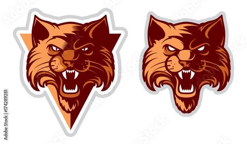 Fototapeta premium Logo Wildcat / Logotyp Cat Head. Wektor postać z kreskówki. Świetne na emblematy sportowe i maskotki drużyny.