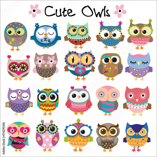 Canvas Prints Owls cartoon Set of Cute Cartoon Owls