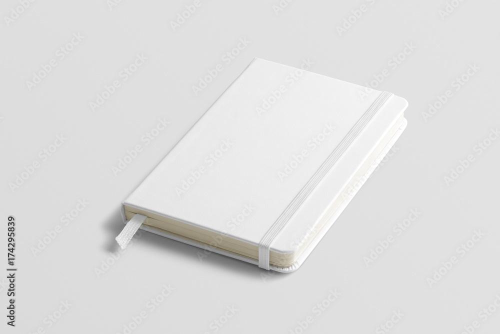 Fototapeta Blank photorealistic notebook mockup on light grey background, front view.