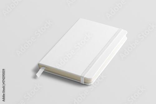Obraz Blank photorealistic notebook mockup on light grey background, front view. - fototapety do salonu