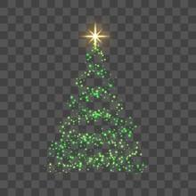Christmas Tree On Transparent Background. Green Christmas Tree As Symbol Of Happy New Year, Merry Christmas Holiday Celebration. Light Sparkle Decoration. Bright Gold Star. Vector Illustration