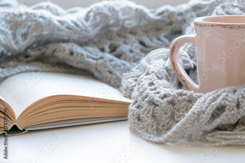 Obraz Cozy home still life: cup of hot coffee and opened book with warm plaid on windowsill against snow landscape outside. Winter holidays, Christmas time concept, free copy space - fototapety do salonu