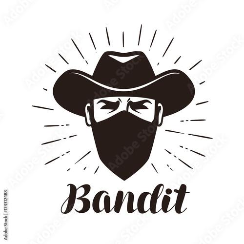 Angry Bandit Gangster Logo Or Label Portrait Of Cowboy In Mask Lettering Vector