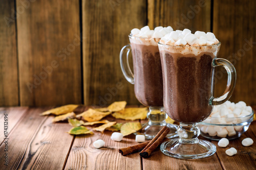 Spoed Foto op Canvas Chocolade Hot chocolate with marshmallow in glass cups on wooden background