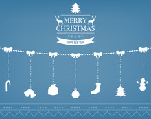 Christmas Greeting Card With Merry Christmas And Happy New Year Wishes. Christmas Design Elements. Vector