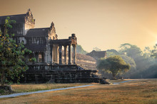 Side Front View Of Angkor Wat Temple In Cambodia