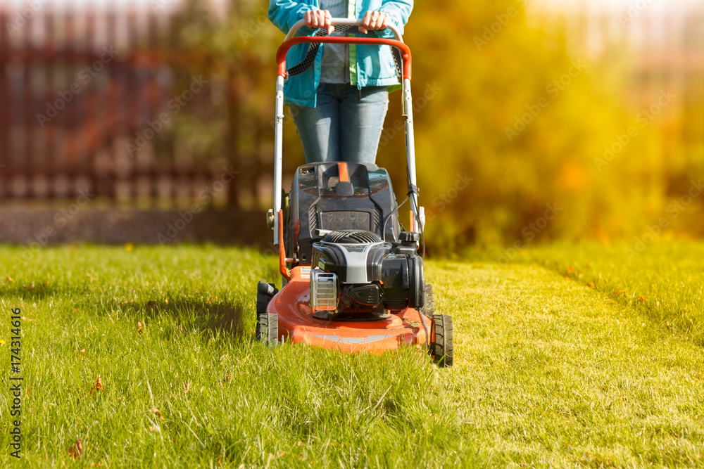 Fototapeta woman working with a lawnmower in the garden