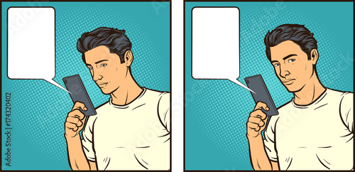 Fotobehang Pop Art Vector comic book illustration of a man reacting to something seen on his smartphone. Some elements on separate layers.