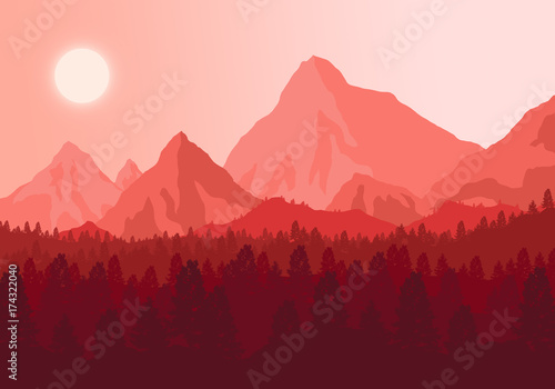 Poster Corail The picture sunset in the mountains