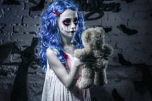 Little Blue Hair Girl In Blood...