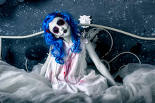 Little Blue Hair Girl In Bloody Dress With Scary Halloween Makeup