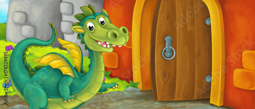 Cartoon happy scene of an old style entrance of castle with dragon standing in front of it - stage for different usage - illustration for children