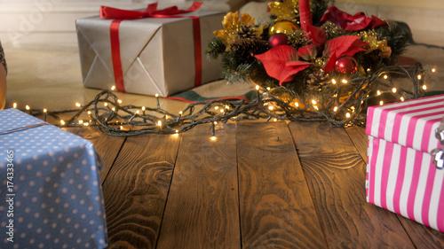 Beautiful Christmas Background Design.Beautiful Christmas Background With Lights Gifts And