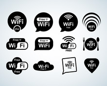 Free Wifi  Logo Set. Free Wifi Signs Set. Wifi Symbols. Wireless Network Icons. Wifi Zone. Modern UI Website Navigation. Isolated Vector Illustrations.