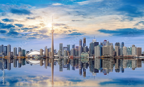 Toronto skyline from Ontario lake Canvas Print