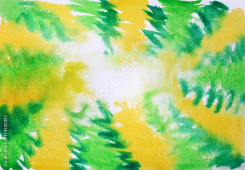 Zdjęcie XXL ramka na zdjęcia akwarela w kolorze żółtym i zielonym