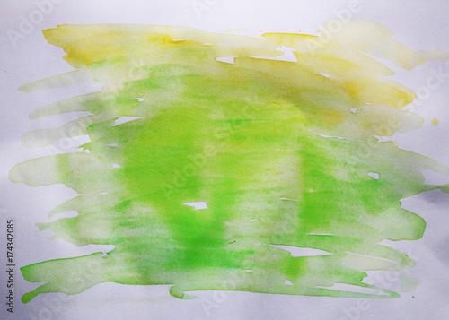 Zdjęcie XXL akwarele żółto-zielone plamy