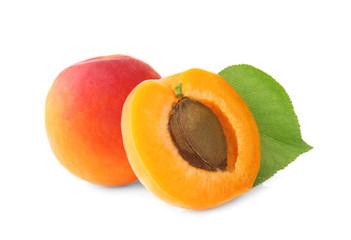 Fresh apricots on white background