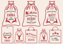 Christmas Bags And Tags, Vecto...